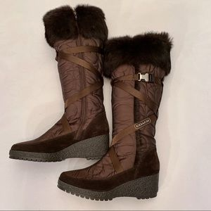 Coach Brown Rabbit Fur Mackenzie Snow Boots